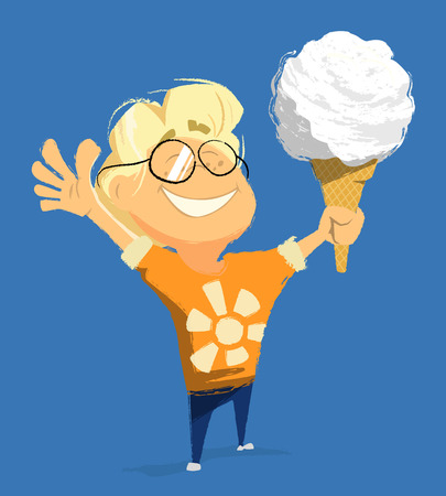 kid smile: Vector character illustration of happy smile child boy kid hold and eat ice cream in summer day