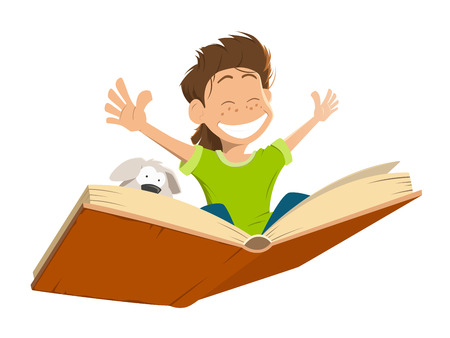 Vector character illustration of happy smile kid boy child flying on a big open book with cute puppy Vectores