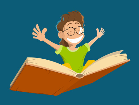 kid smile: Vector character illustration of happy smile kid boy child with glasses flying on a big open book