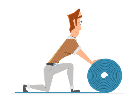 Man putting down linoleum flooring. Flooring installation illustration. Color vector illustration.