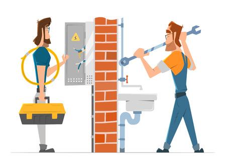 Elektricien en loodgieter man werken. Huis reparatie service. Kleur vector illustratie.
