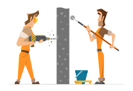 drill: Two man worker drill and paint a wall. Home house repair service. Color vector illustration.