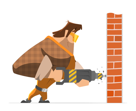drill: Big strong man worker drill a wall. Home house repair service. Color vector illustration.
