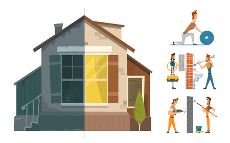 restoration: Home house repair renovation service. Before and after creative concept. Color vector illustration.
