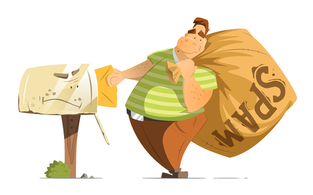 Fat man spammer with big sack of spam sending putting a mail in old mailbox. Illustration