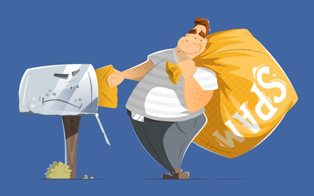 spammer: Fat man spammer with big sack of spam sending putting a mail in old mailbox. Illustration