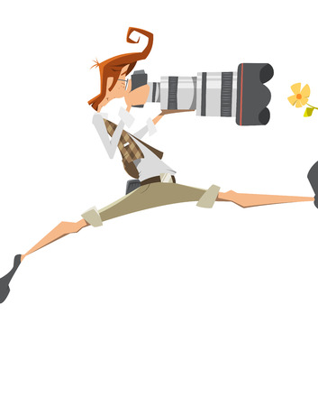 Young man pro professional photographer with big lens camera. Passion, extreme risk, pose. Isolated on white background. Illustration