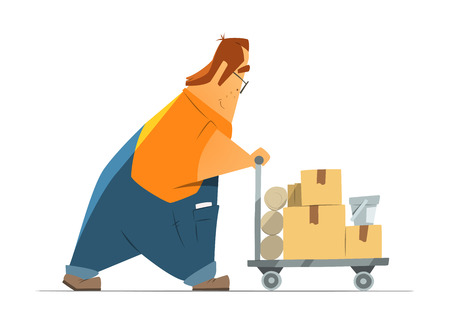 hardware store: Happy smile fat man in uniform shopping in hardware store moving a cart with goods. Isolated on white background. Color vector illustration.