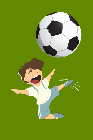boys soccer: Happy soccer football player kid child boy kicking a ball while jumping in action. Color vector isolated illustration. Illustration