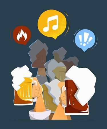 big woman: Friends people man and woman hands up with big mug, glasses of light and dark beer in bar pub club. Color vector illustration. Isolated
