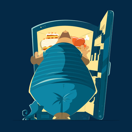 Fat hungry man and open night fridge. Color vector illustration.