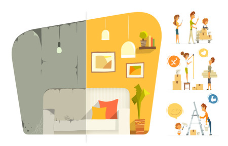 Happy family home house flat  apartment room repair. Before and after. Vector color illustration. Isolated on white background. Stock Illustratie
