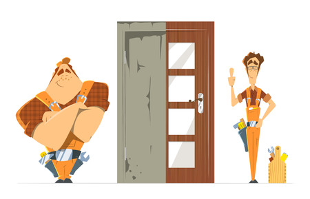 locksmith: Door installation repair unlock service. Old new door before and after concept. Two man locksmith. Color vector illustration.