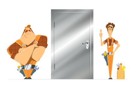 locksmith: Steel metal safe door installation repair unlock service. Two man locksmith. Color vector illustration.