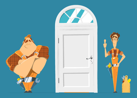 White house street entrance door installation repair unlock service. Two man locksmith. Color vector illustration.