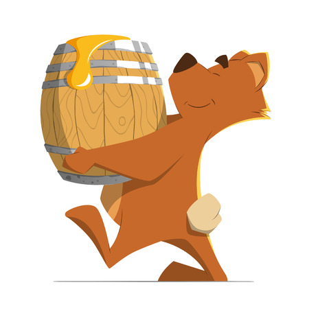 white smile: Happy smile cute brown bear holding and carrying a wood old barrel with a sweet honey. Isolated on white background. Color vector illustration.