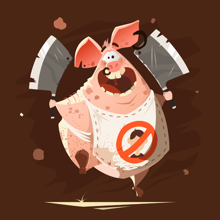 Color vector character illustration of crazy big fat pig running with two axes t-shirt cool creative print