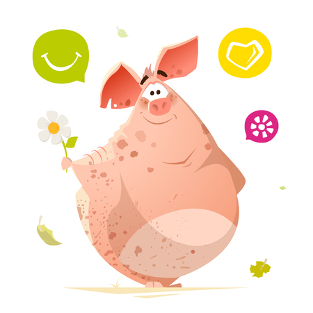 Color vector character design of happy smile cute pig animal