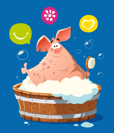 Color vector character illustration of happy smile pig in bath bathtub washing