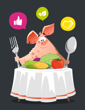 Happy smile pig sit at the table with big plate of vegetables. Diet concept