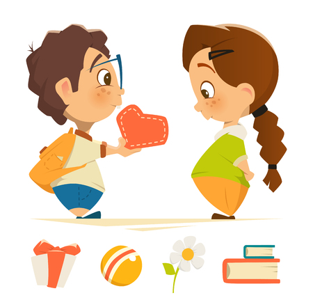 girl in love: Color vector character design illustration of cute boy and girl in love Illustration