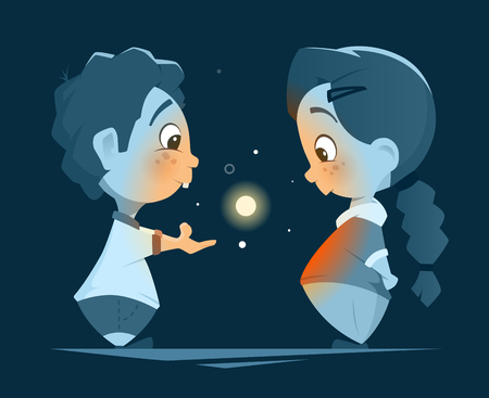Vector character design illustration of two little kids boy and girl looking at magic light