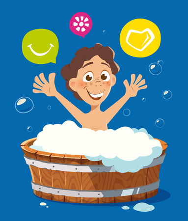 kid smile: Happy smile kid washing in bath bathtub