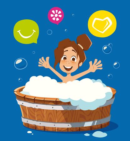 Happy smile kid washing in bath bathtub