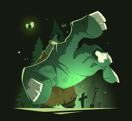 Color illustration of big scary undead zombie hand near grave