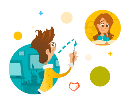 Young people boy and girl in social network internet Illustration
