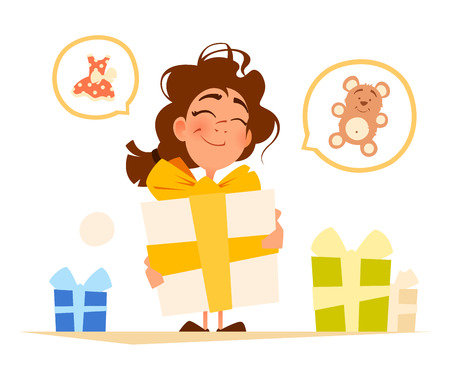 Happy smile cute little girl and big gift box Vectores