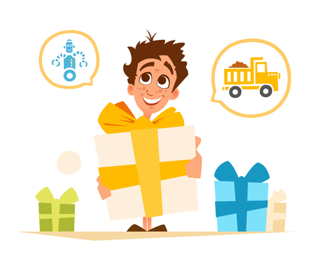 Color vector illustration of happy smile boy child kid and big gift box