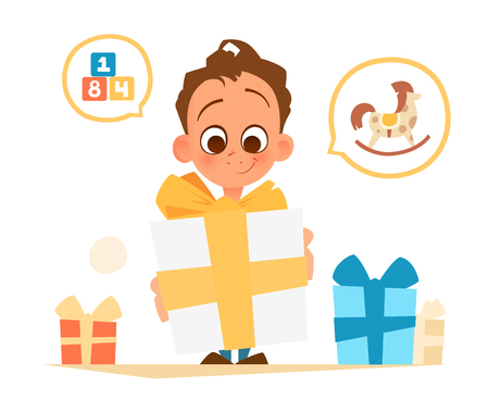 Color vector illustration of happy boy holding big gift box illustration.