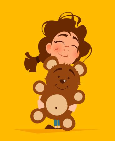 Color vector illustration of cute girl hugging teddy bear illustration.