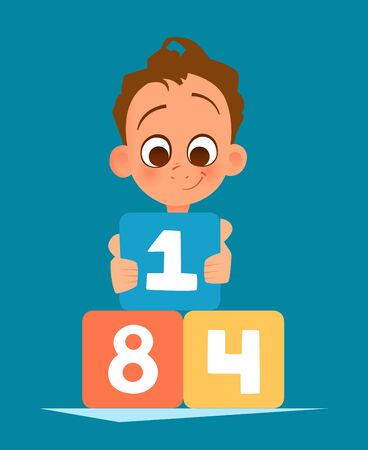 Color vector illustration of happy smile boy kid playing with toy cubes illustration.