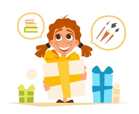Vector illustration happy smile cute little girl and big gift box Çizim
