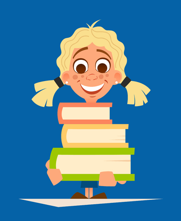 Color vector illustration of happy smile little girl schoolgirl holding pile of books illustration.