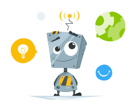 Cute little robot with round icons vector illustration.