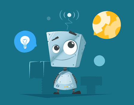 funny robot: Cute little robot with round icons vector illustration.