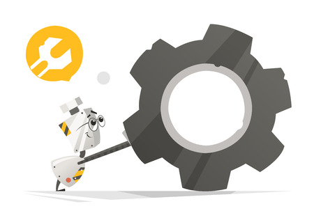 Cute little robot and big gear vector illustration. Stock Illustratie
