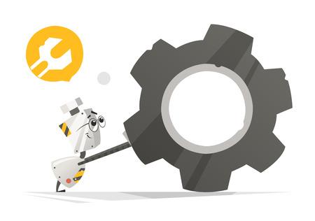 Cute little robot and big gear vector illustration. Illustration