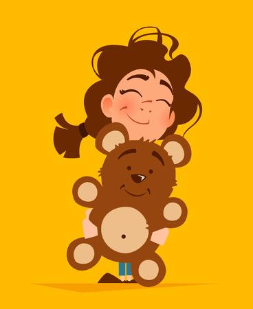 Color vector illustration of cute girl hugging teddy bear Çizim