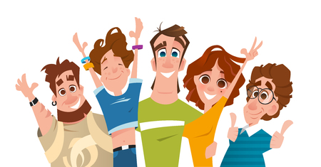 Happy smile successful modern team of students friends Illustration