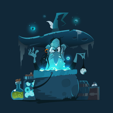 Color vector illustration of old witch with big hat and magic pot cauldron. Stock Illustratie