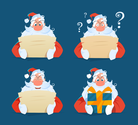 Santa reading a letter face expression set