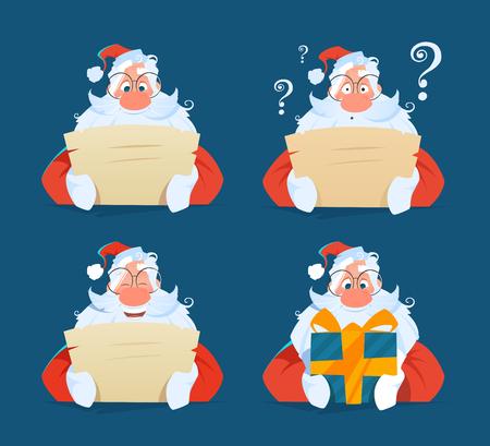 Santa reading a letter face expression set