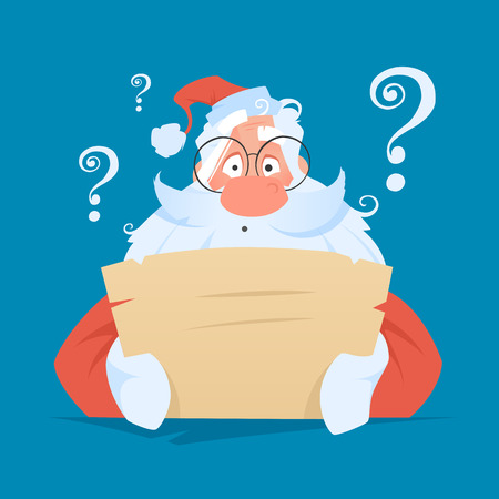 Funny santa claus reading a letter with question face expression