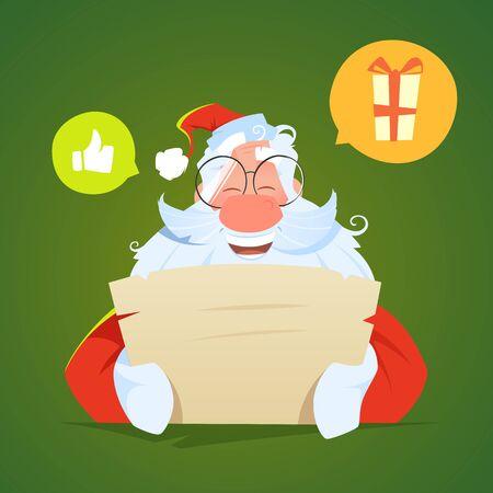 Happy smile santa claus reading a letter and laughs Foto de archivo