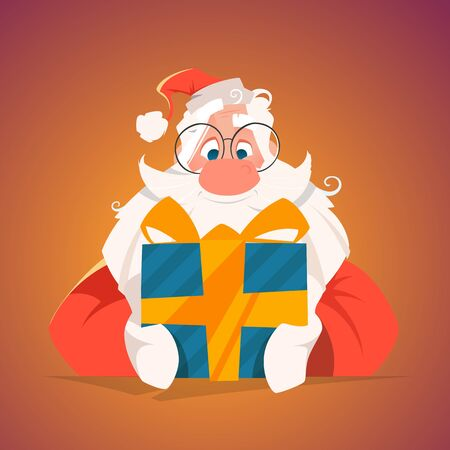 Happy santa holding a gift box Banque d'images