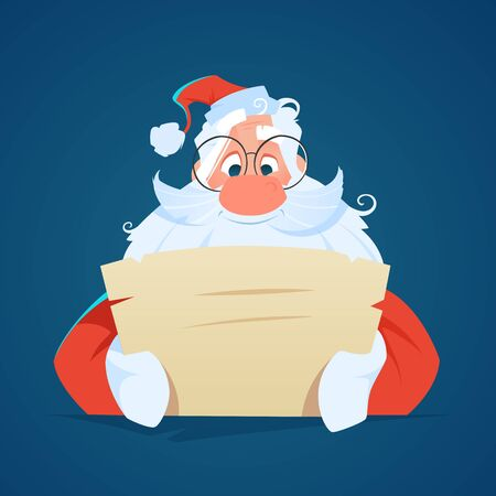Happy smile santa claus reading a letter